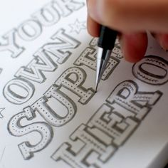 Super Hero work in progress | by Alexandra Snowdon #handlettering #typography