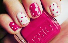 dots, daha çok etiket ekle, white, cute, nails, nailpolish, pink, essie, girl