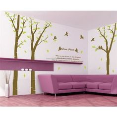 Love Poem Tree With Flying Birds Wall Decals