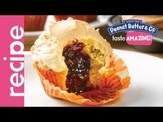 Peanut Butter Cupcakes Stuffed with Jelly Recipe - YouTube