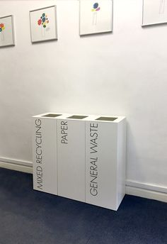 Office Recycling Bins Sorting TWO 50 Litre Square …