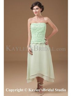 Chiffon Strapless Asymmetrical A-line Mother Of The Bride Dress with Jacket