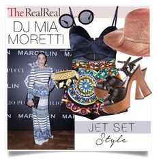 """""""Jet Set Style With DJ Mia Moretti & The RealReal: Contest Entry"""" by kat79 ❤ liked on Polyvore featuring Michael Lo Sordo, Dolce&Gabbana, Eugenia Kim, Miu Miu, Yves Saint Laurent, SOHO and Angela Cummings"""