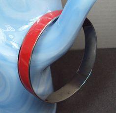 Red Enamel Silver Tone Bracelet Bangle by GrandmasTrove on Etsy