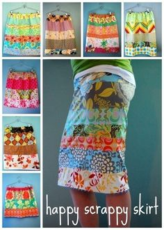 SPRING is coming---happy scrappy skirt-pdf-pattern. Just use scraps of kicky fabric & adapt to your 'fav' skirt pattern. This looks like a skirt for you, Holly Sewing Hacks, Sewing Tutorials, Sewing Crafts, Sewing Projects, Sewing Patterns, Skirt Patterns, Simple Skirt Pattern, Sewing Ideas, Dress Tutorials