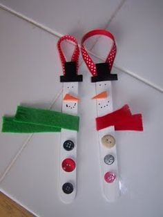 Snowman ornaments. Cute for the kids to make..i made this when i was in school:)