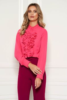 StarShinerS fuchsia office women`s blouse with ruffles on the chest transparent chiffon fabric and high collar, high collar, long sleeves, transparent chiffon fabric, with ruffles on the chest Red Skirts, Blouse Outfit, Chiffon Fabric, High Collar, Summer Looks, Size Clothing, Shirt Blouses, Ruffles, White Jeans