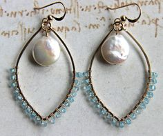 Aquamarine Gold Hoop Earrings, Hammered Gold Filled Marquise Hoops, Wire Wrapped Aquamarine Pearl Earrings, Coin Pearl  Hoops. $49.00, via Etsy.