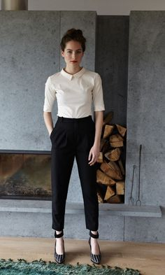 Note: The style of pants— Can tuck any nice shirt under it. Tuck casual shirt and wear blazer. The shoes— They look comfortable, wearable to work. It could be done with flats as well, not to as potent an effect I think. The strap on the shoes are the most important part.