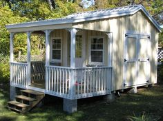 cute garden shed with porch | MY CABANA NEEDS THIS DECK!!!!