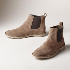 BRANDYWINE BOOTS--An iconic fusion of the classic chukka and a simple slip-on, these easy suede boots will become your go-to pair. Leather. Italy. Exclusive. Euro whole sizes 36 to 41. 36 (US 5.5), 37 (US 6.5), 38 (US 7.5), 39 (US 8.5), 40 (US 9.5), 41 (US 10.5).