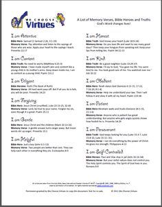 We Choose Virtues | Products | Catalog Products | Kids Memory Verses, Bible Heroes and Truths