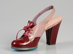 Pink and red leather and plastic lace-up sling-backs with turquoise soles, by Seymour Troy Originals, American, 1942.