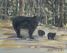 Title  The Twin Cubs And Mama   Artist  Jan Dappen   Medium  Painting - Oil On Canvas