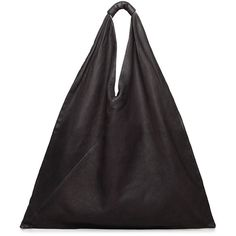 MM6 by Maison Martin Margiela Triangle Bag (13.110 RUB) ❤ liked on Polyvore featuring bags, handbags, purses, black, women, leather hand bags, genuine leather bag, handle bag, 100 leather handbags and leather handbag purse