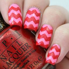 Pink and Red Chevron Nails