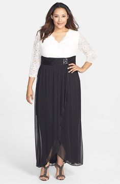 Jessica Howard Lace & Chiffon Surplice Bodice Gown (Plus Size) available at #Nordstrom