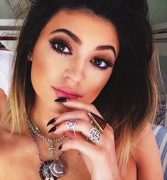 Beautiful Kylie Jenner classic make up. Heavy eye make up. Full lips