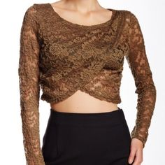 Nwot On Twelth lace crop top  no trades please No flaws dark olive color bust is 17 length 15 with stretch Twelth Tops Crop Tops