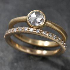 onestonenewyour round rose cut diamond engagement ring and wedding band