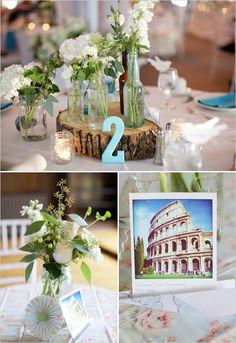 white flower arrangements, table decoration - Tischdekoration weiße Blumen
