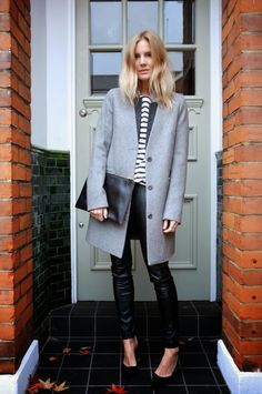 Beautiful grey oversized coat + breton shirt www.fashflick.com #style #lucywilliams #fashflick