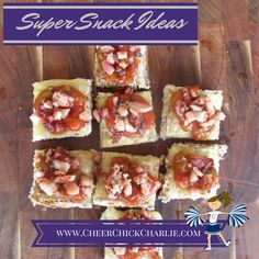 Here's another super snack idea from Cheer Chick Charlie. Wholemeal toast with cheese, salsa and diced ham. Pop under the grill for a few minutes to create mini pizza snacks for afternoon tea. #YUM  www.CheerChickCharlie.com