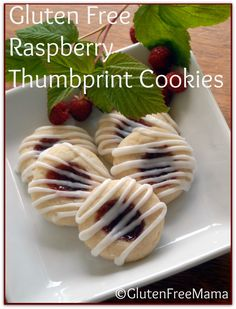 Gluten Free Raspberry Thumbprint Cookies - Perfect for #weddings, #bridal showers, #summertime parties.  Uses Mama's Cookie Mix or Mam's Sugar Cookie Recipe.