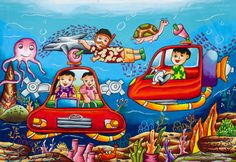 Deep Sea Car Arelia Sofiana Toyota Dream Car Art Contest Resim - Cars World Art Lessons For Kids, Artists For Kids, Art For Kids, Painting For Kids, Drawing For Kids, Pictures To Draw, Cute Pictures, Peace Poster, Music Illustration