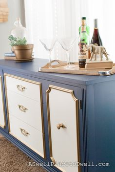Navy Blue, White and Gold Credenza Makeover {Before and After pics}