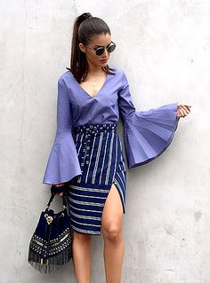 Spring and Summer are the perfect seasons for wearing bell sleeves. For those of you don't know how to style bell sleeves tops. Here are 15 gorgeous summer outfit ideas with bell sleeves perfect for any occasion! Chic Outfits, Summer Outfits, Inspired Outfits, Rock Outfits, Skirt Outfits, Bell Sleeve Top Outfit, Bell Sleeve Blouse, Shirt Sleeves, Mode Statements