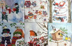 6 Vintage Cocktail Table Paper Napkins (25cm x 25cm) Decoupage Christmas MIX 1/3