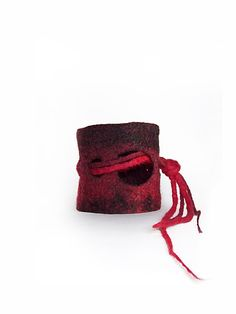 Felted red black Bracelet Cuff by Leris on Etsy