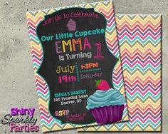 Printable Little Cupcake Birthday Invitation (Digital File Only)