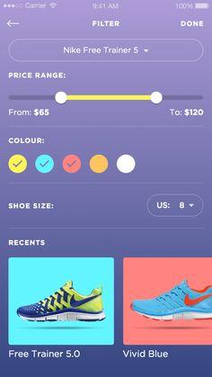 Dribbble - Betraydan-SneakerUI-1b.png by Daniel Klopper #color #filter #mobile