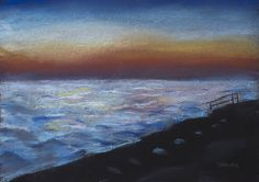 The sea is always beautiful, especially at sunset. In this picture, the calmness of water and at the same time bright colors of the sunset. Combined with the deserted beach the painting immerses in a joyful and peaceful state of mind.  Size: 35 х 25 cm.  The picture drawn with pastels on pastel paper.