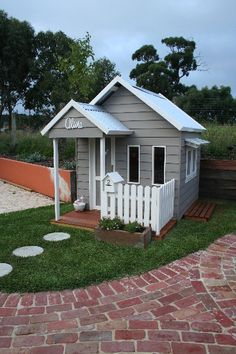 Spectacular Playhouse Plan Into Your Existing Backyard Space Kids Cubby Houses, Kids Cubbies, Dog Houses, Play Houses, Backyard Playhouse, Build A Playhouse, Playhouse Ideas, Painted Playhouse, Pink Playhouse