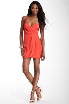Faux Wrap Silk Dress