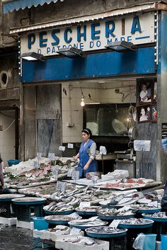 fish shop, Naples, Italy Campania