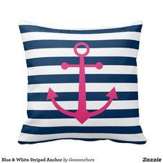 Blue & White Striped Anchor Throw Cushion