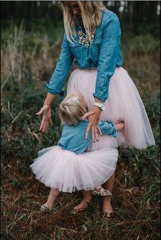 Mommy & Me Skirt Set Pink Very Full Tulle Flower Girl Toddler