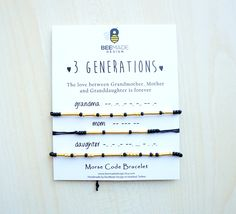 Grandmother Mother Daughter Morse Code Bracelets for 3 Generations Mothers Day from Daughter Gift Mom Gift for Mom Gift for Grandma Gift by BeeMadeDesign on Etsy https://www.etsy.com/listing/248951519/grandmother-mother-daughter-morse-code