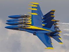 US Navy Blue Angels 4 ship pass. Aircraft are F/A-18 Hornets.