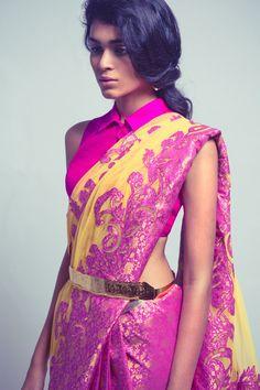 Neeta Lulla Fuschia And Yellow Embroidered #Saree.