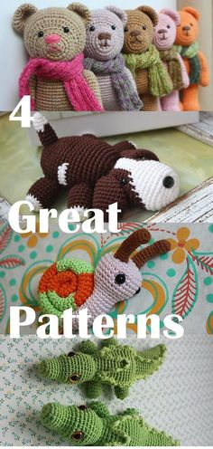 4 Great Amigurumi PATTERNS - Downloadable Crochet Tutorials: Amigurumi Snail for free, Crocodile, Puppy, Teddy Bear