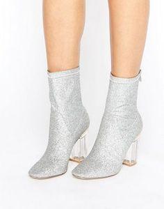 Botines tipo calcetín con purpurina y tacón transparente Claudia de Public Desire