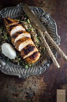 Harissa Chicken with Herbed Quinoa Recipe | Chew Town Food Blog