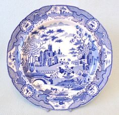 Antique Blue and White Collectors Plate Unusual by AToasttothePast £29.99  sc 1 st  Pinterest & Vintage Collector Plate The Old Grist Mill Currier and Ives By ...