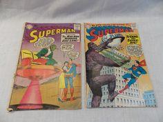Superman Comic Book #136 & 138 Vintage Silver Age Adventure LOT of 2 1960s