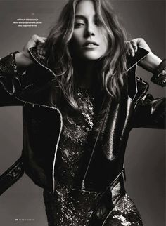 black and white, sequins and leather, angle of shot